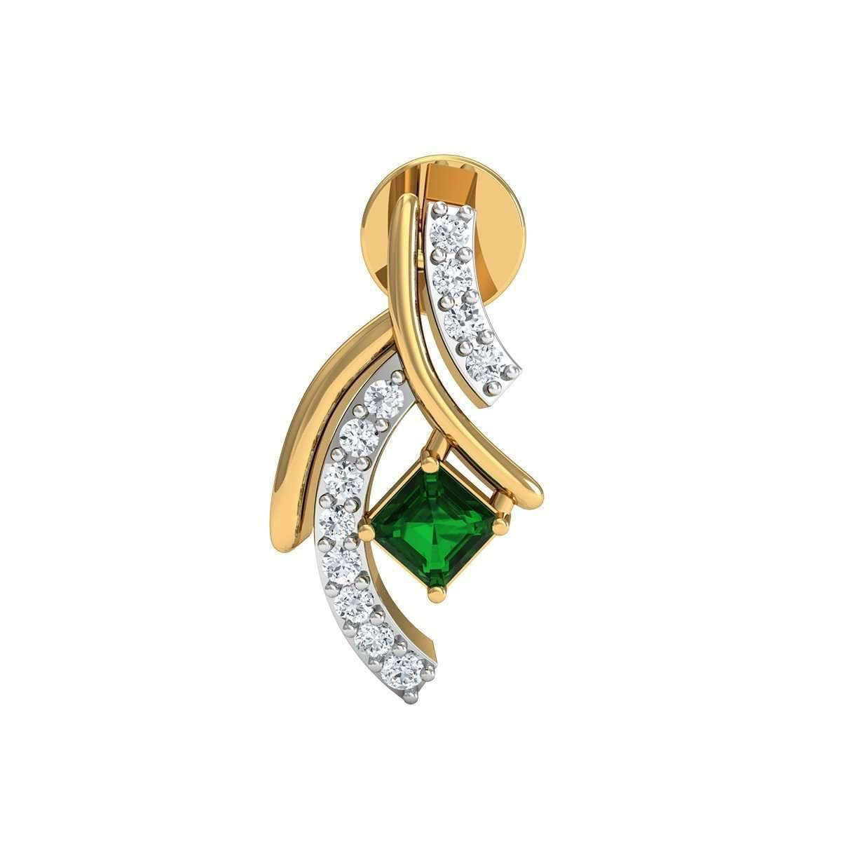 Diamoire Jewels Emerald Cut Emerald Pendant with Premium Diamonds in 10kt Yellow Gold SXKXK4dSX