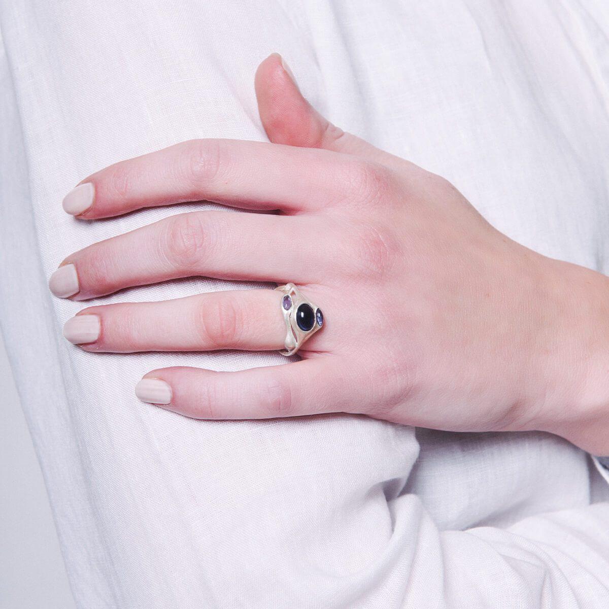 Lyst - Mamm + Myrgh Goldsmiths Triple Pod Ring With Iolite
