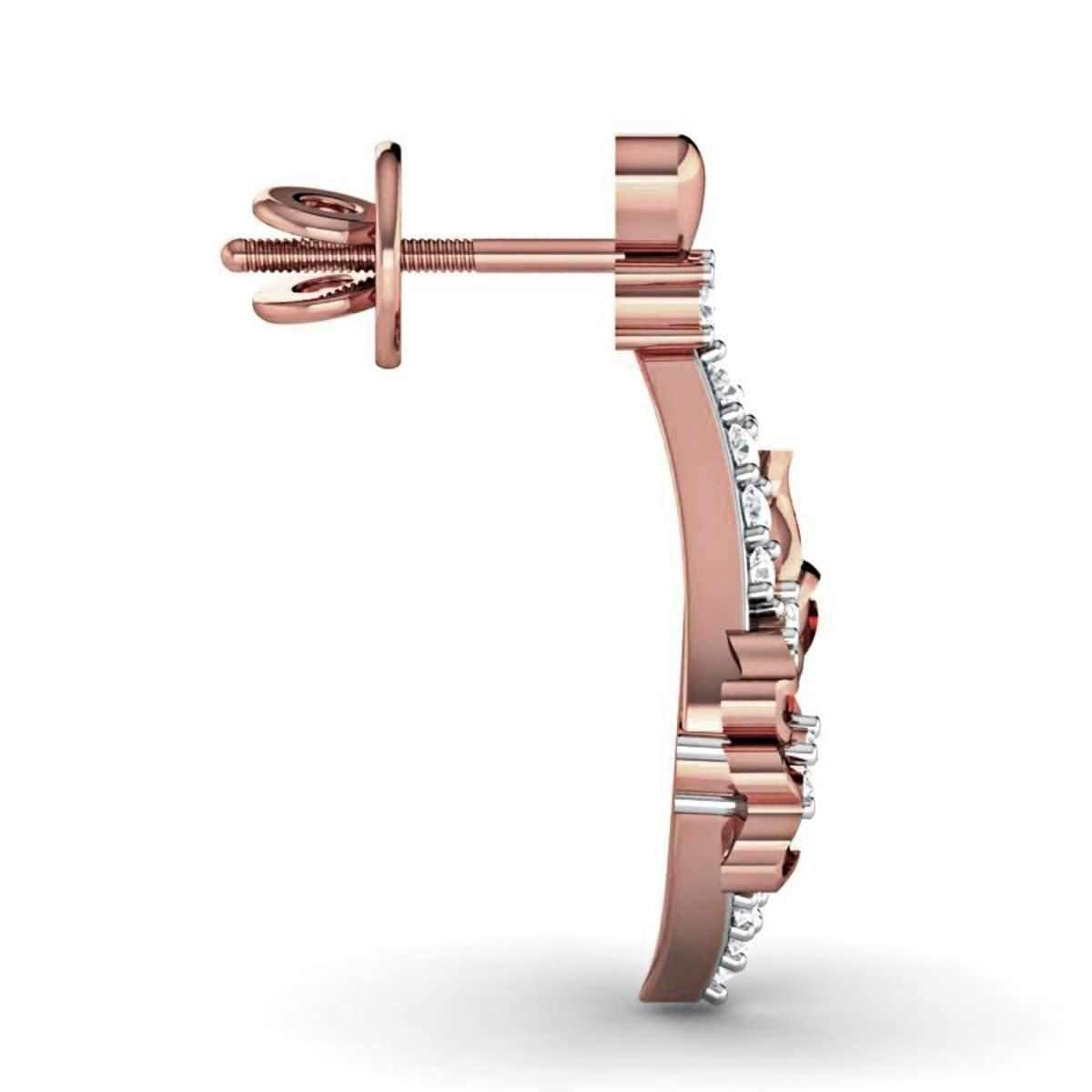 Diamoire Jewels Flower-patterned 18kt Rose Gold Diamond Stud Earrings ABKQglmf