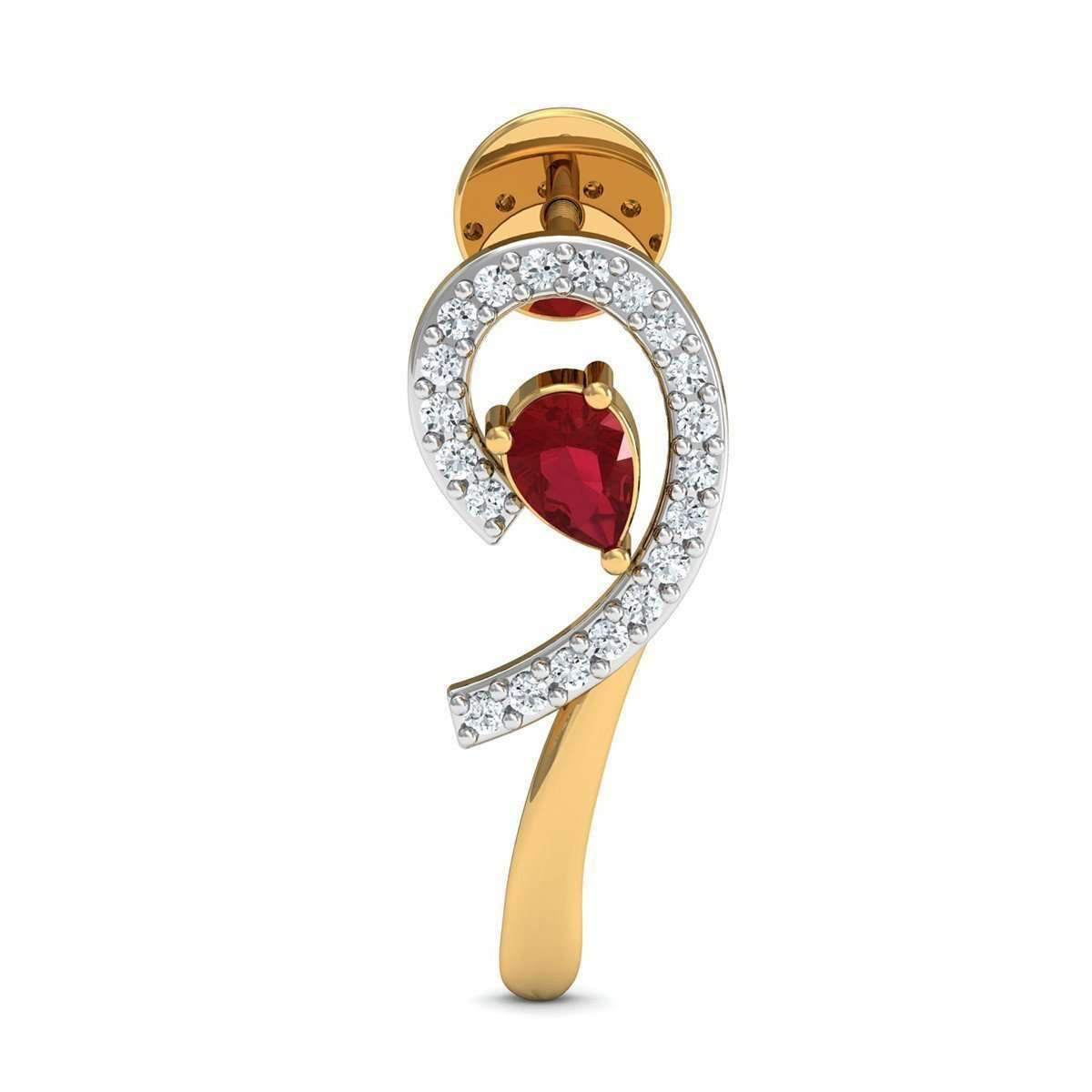 Diamoire Jewels Nature Inspired 18kt Yellow Gold and Pear Shaped Ruby Earrings with Premium Diamonds pJGMbO