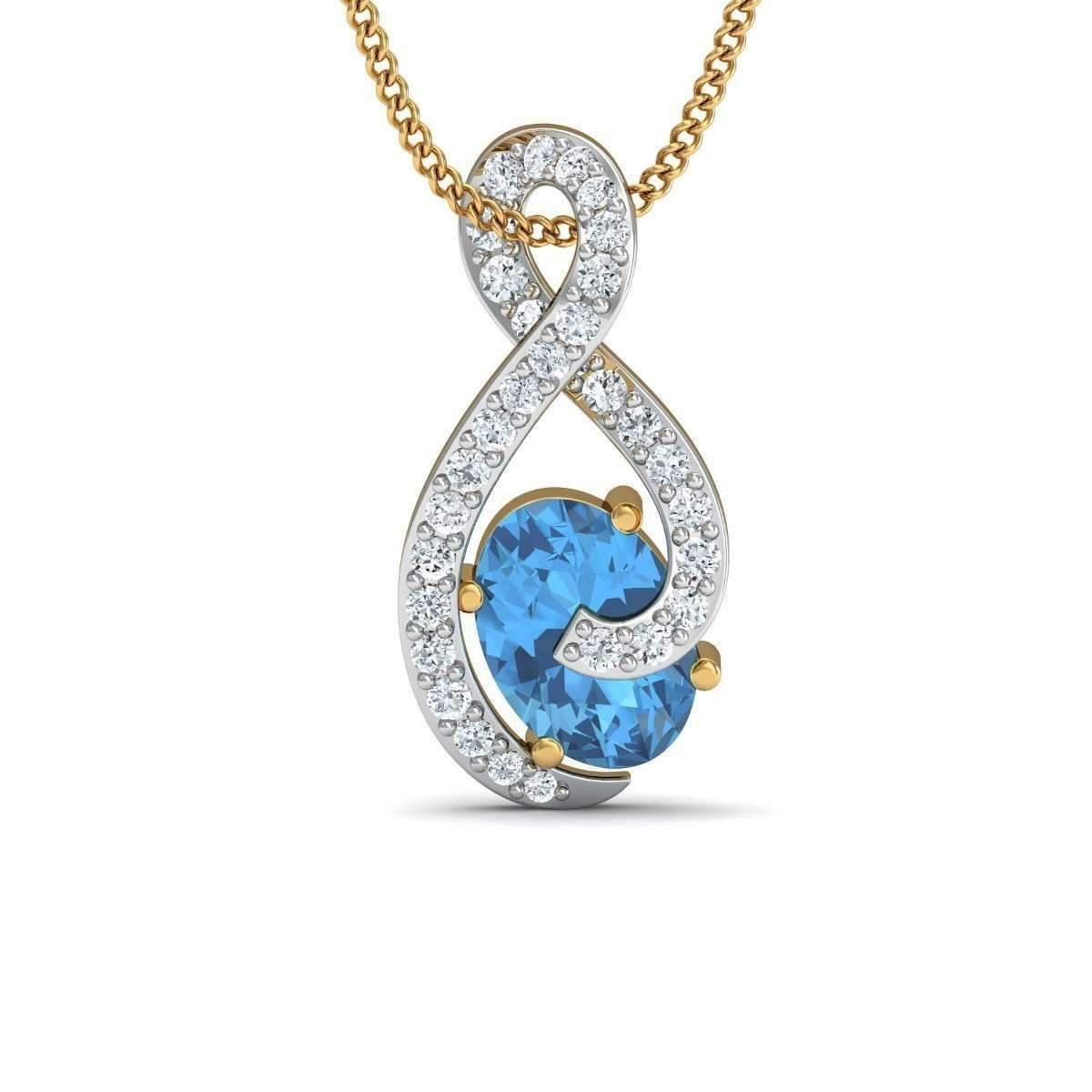 Diamoire Jewels Pear Cut Aquamarine and Diamond Butterfly Pendant in 10kt Yellow Gold OmrAYXdEUj
