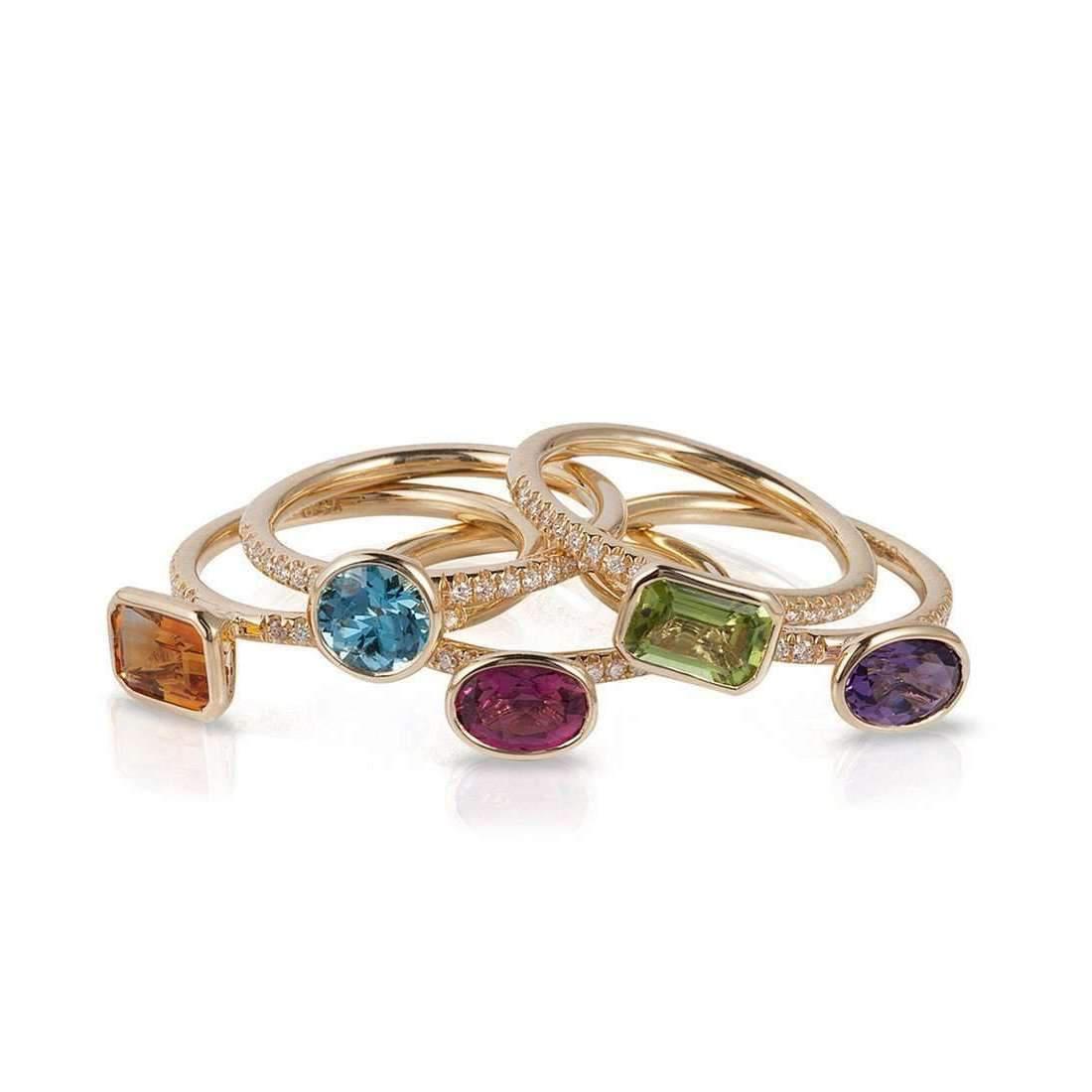 Goshwara Gossip Rubelite Oval Stackable Rings with Diamonds - 6.5 (M) gWBUUt