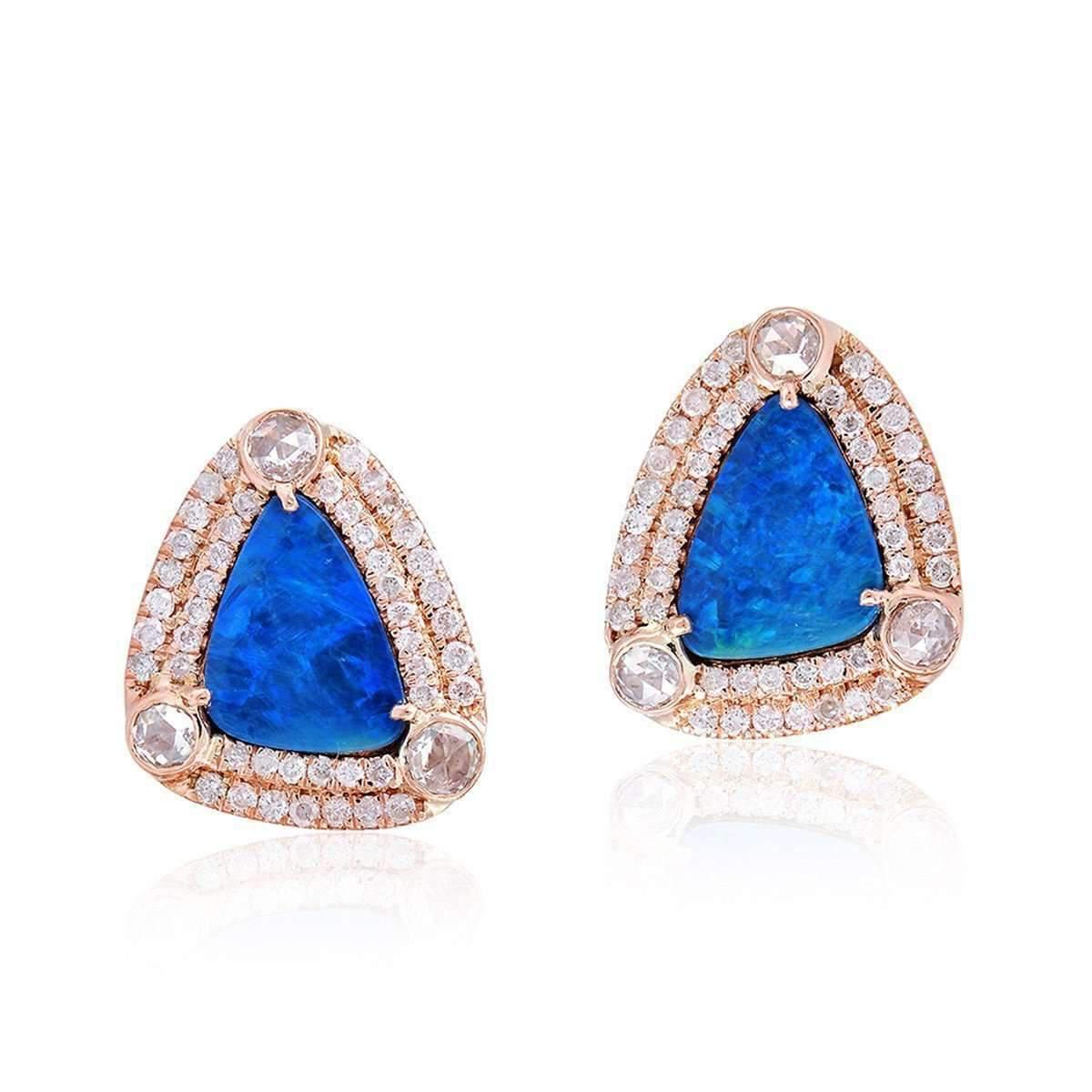 Socheec Blue Opal Stud Earring nvEj47uVX