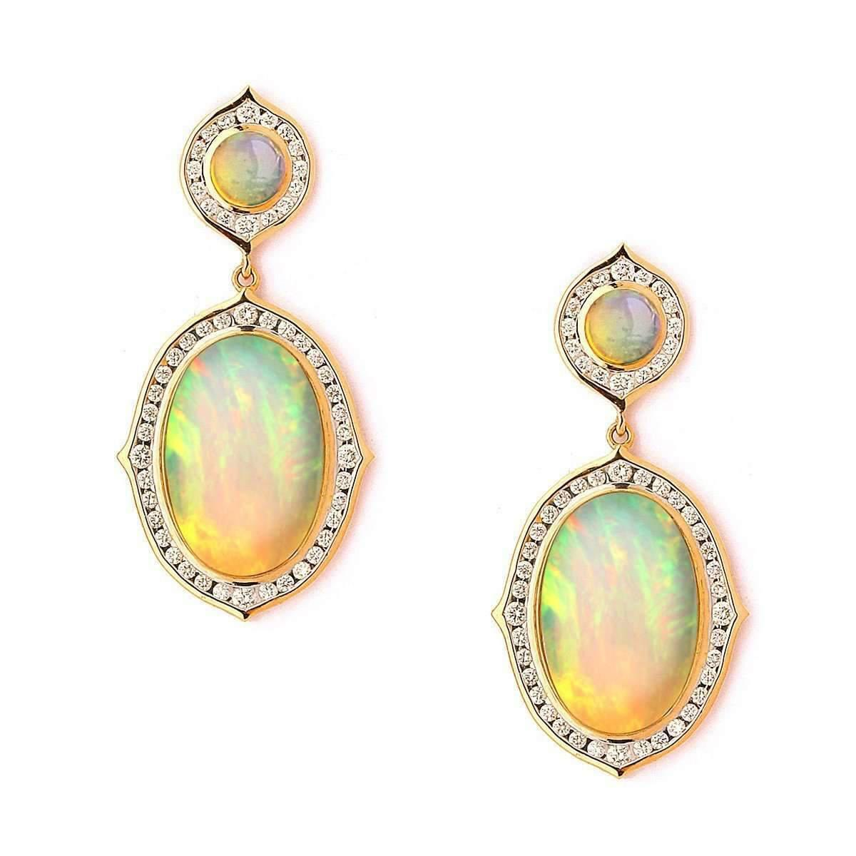 Syna 18kt Ethiopian Opal Earrings With Diamonds zeJAcMySnF