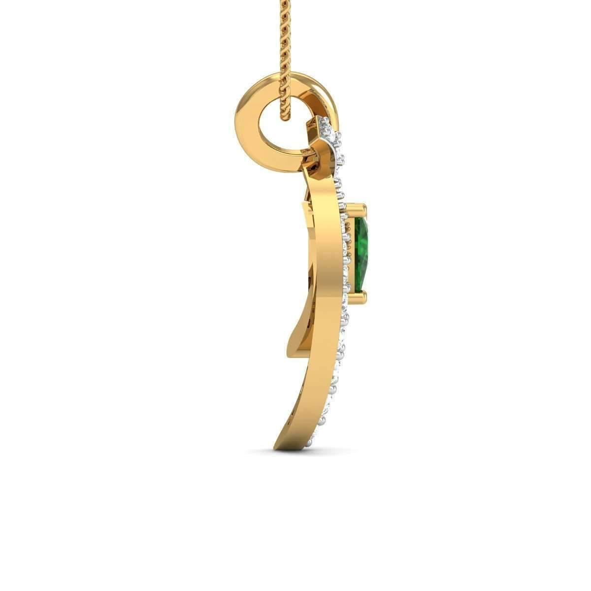 Diamoire Jewels Trillion Cut Emerald Pendant in 18kt Yellow Gold