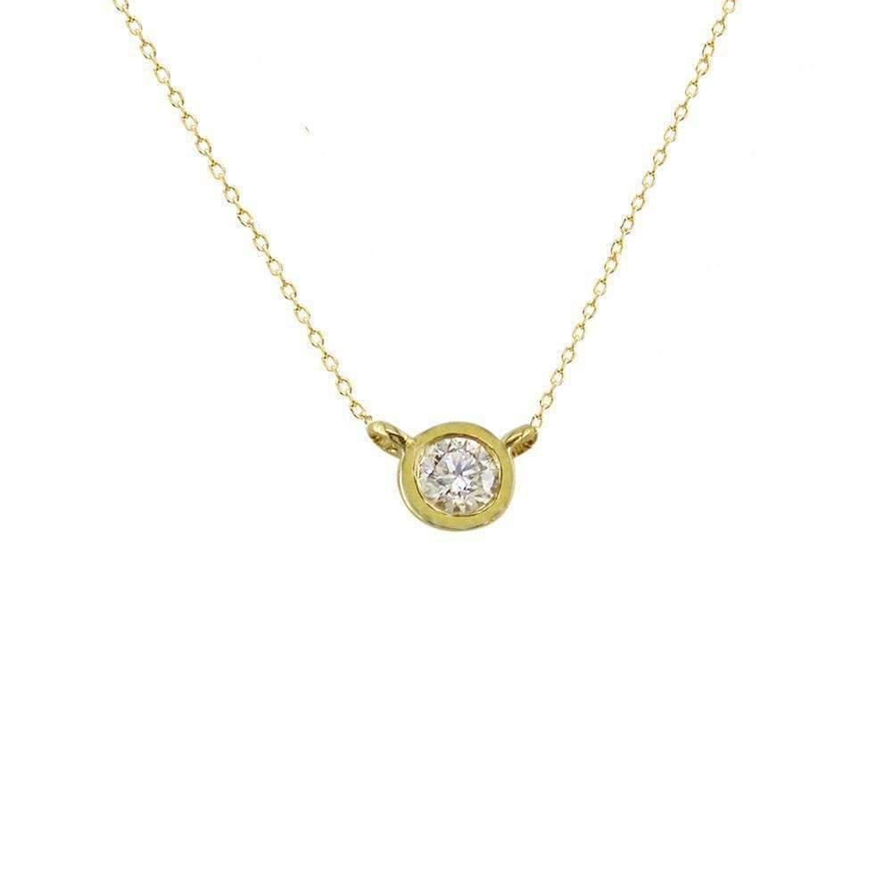 London Road Jewellery Modern Yellow Gold Diamond Single Stone Raindrop Pendant vv2Sum6