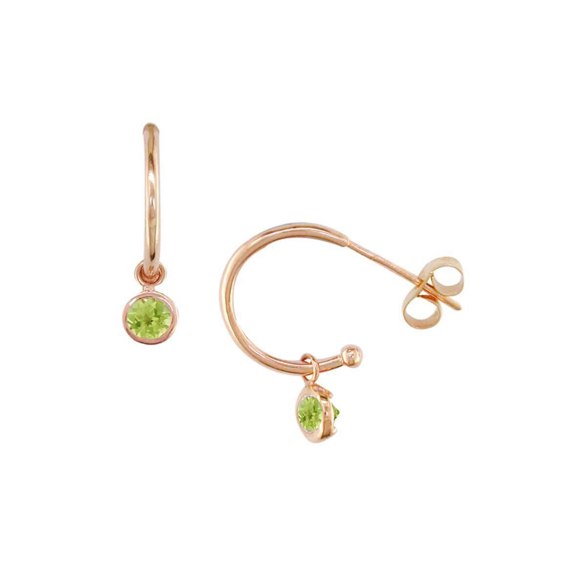 London Road Jewellery Dew Drop Rose Gold Peridot Hoop Earrings 33nKrutmLC