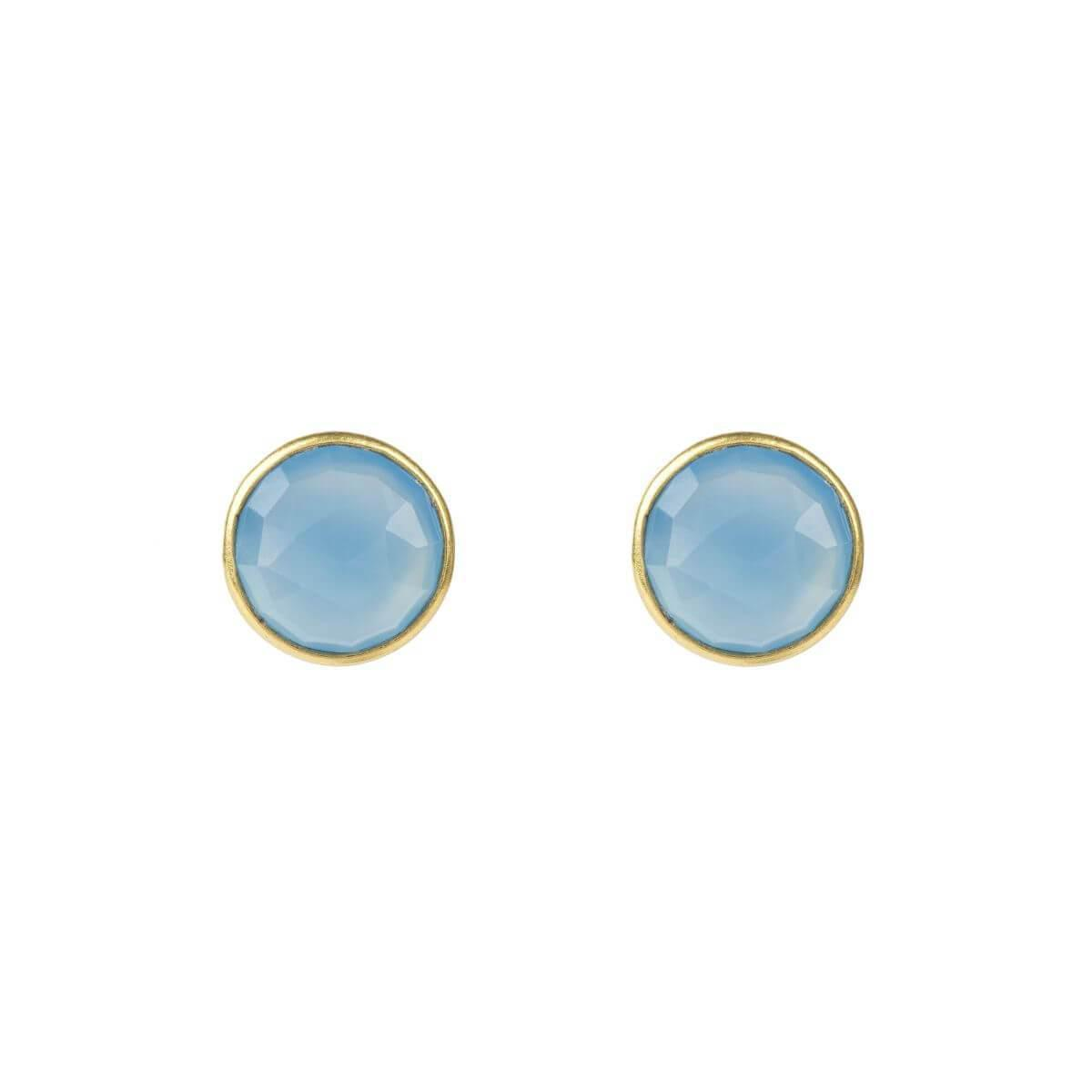 Latelita London Medium Circle Stud Gold Blue Chalcedony x961SNZoTy