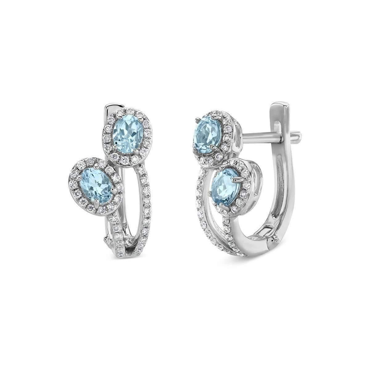 Diamoire Jewels Oval Cut Natural Aquamarine and Diamond Earrings in 18kt Yellow Gold gxrdQTNHDe