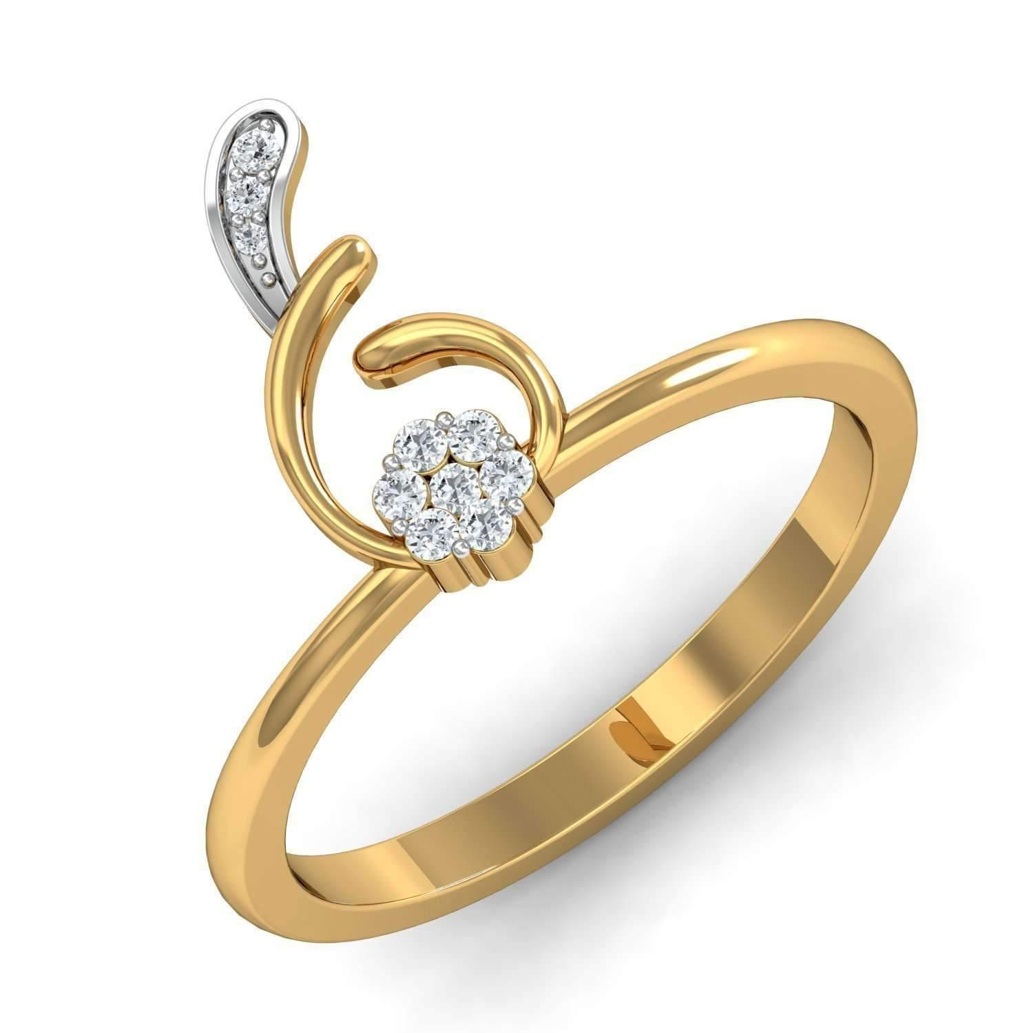 Diamoire Jewels Glamorous Water Drop Ring in 18Kt Yellow Gold FIOTR