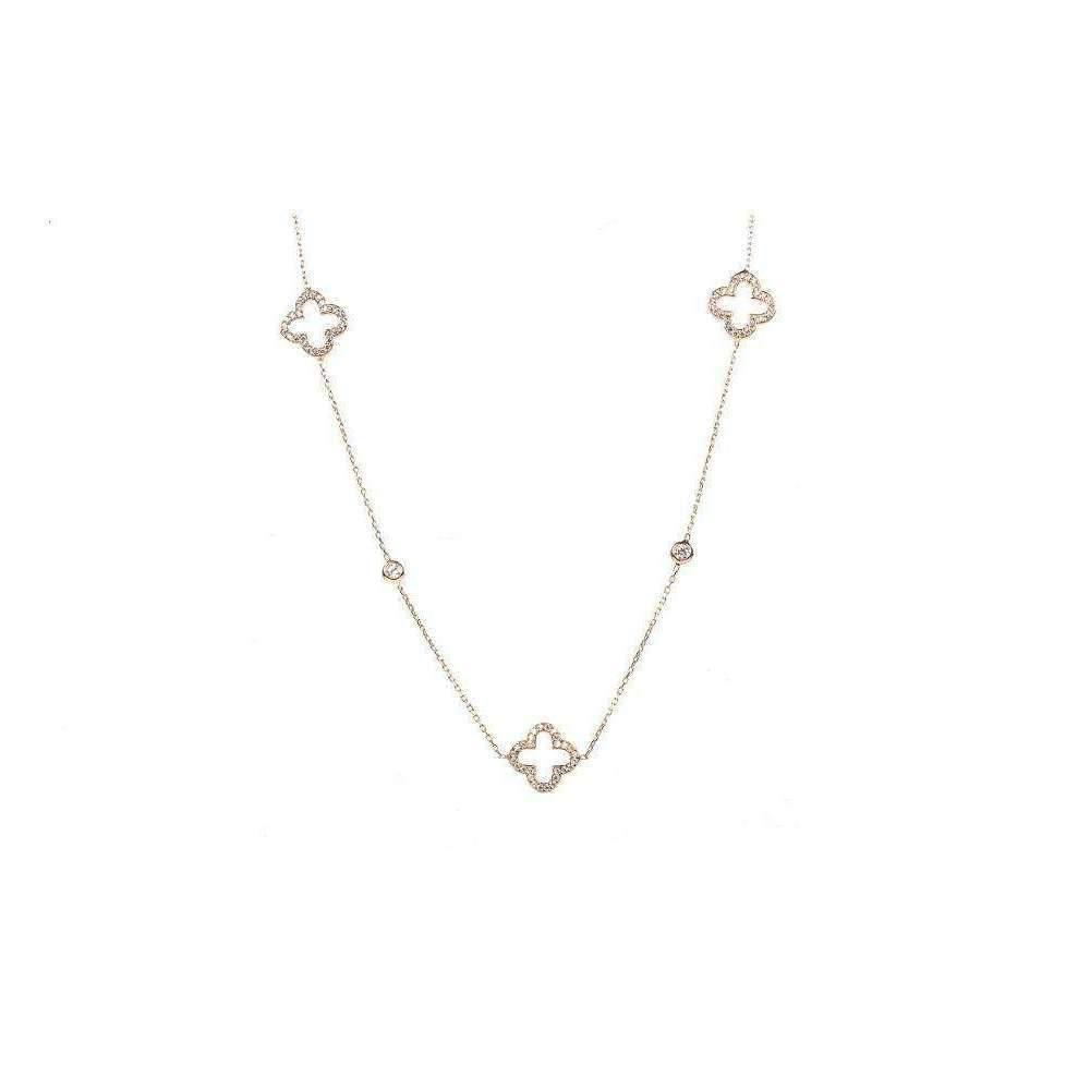 Latelita London Necklace Long Hollow Clover Silver AL4yLs