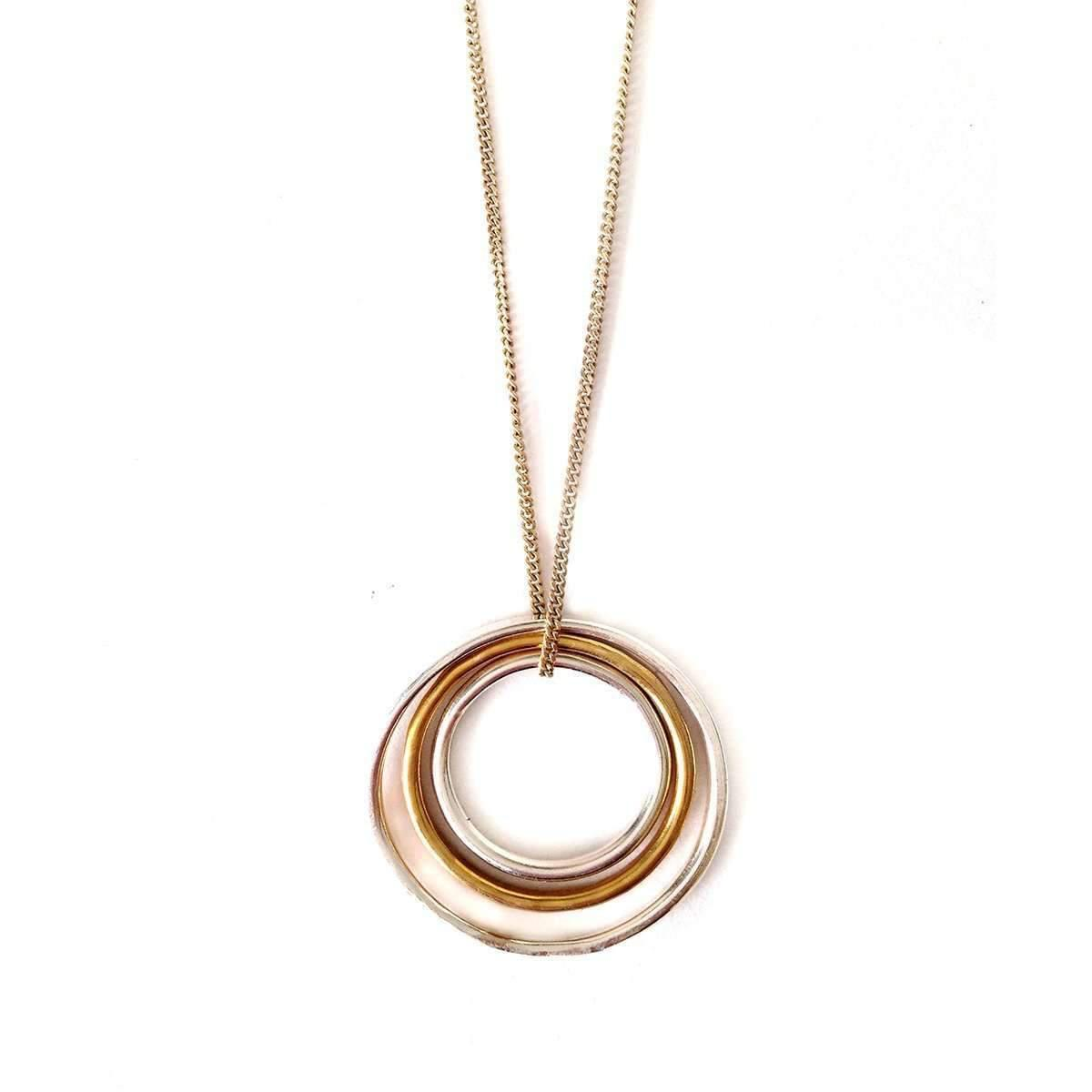 Fran Regan Jewellery Pendant 1 Vermeil Loop, 2 Silver Loops On Silver Chain