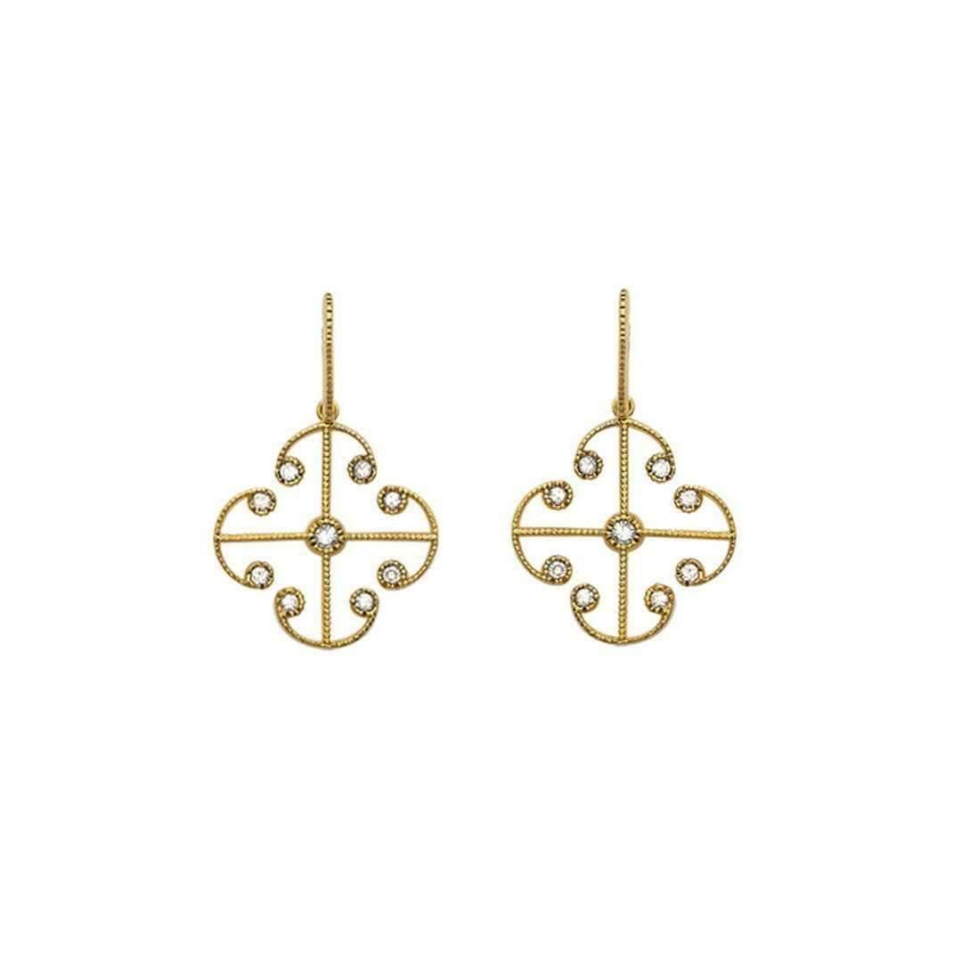 London Road Jewellery Portobello Yellow Gold Lattice Diamond Large Drop Earrings LfmoX