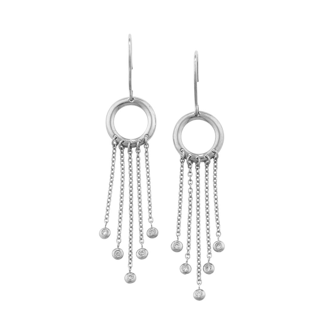 London Road Jewellery Portobello White Gold Diamond Bar Geo Drop Earrings h5lxeFmRS