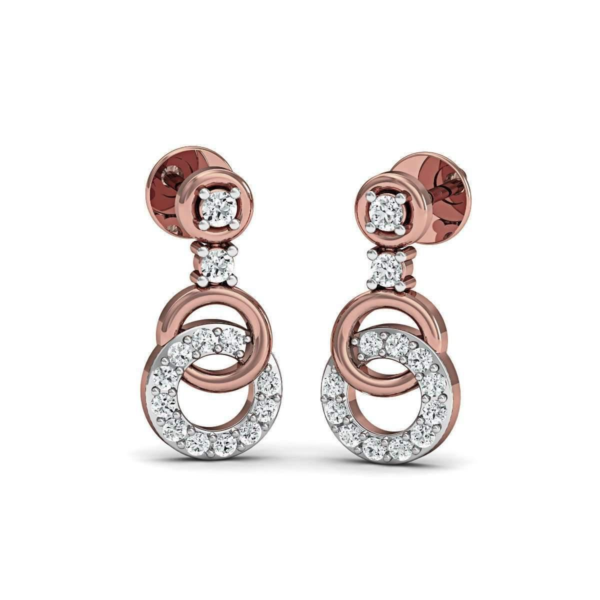 Diamoire Jewels Sure-fire Polished 18Kt Rose Gold Diamond Stud Earrings EbYUdKw0