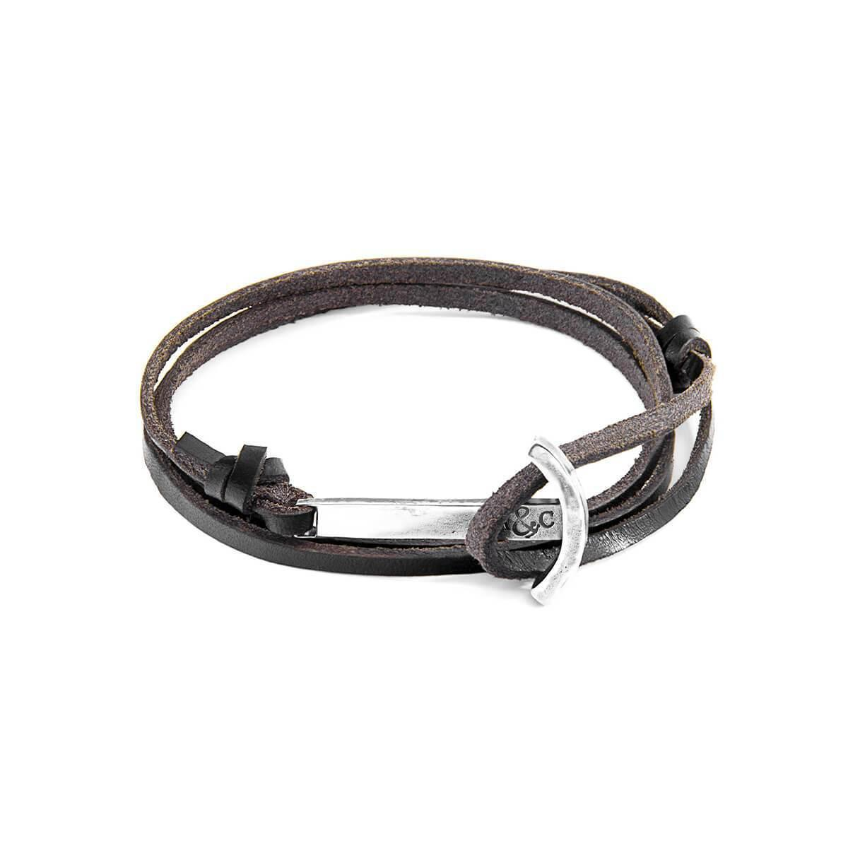Anchor & Crew Dark Brown Clipper Silver And Leather Bracelet 3pdS5V6