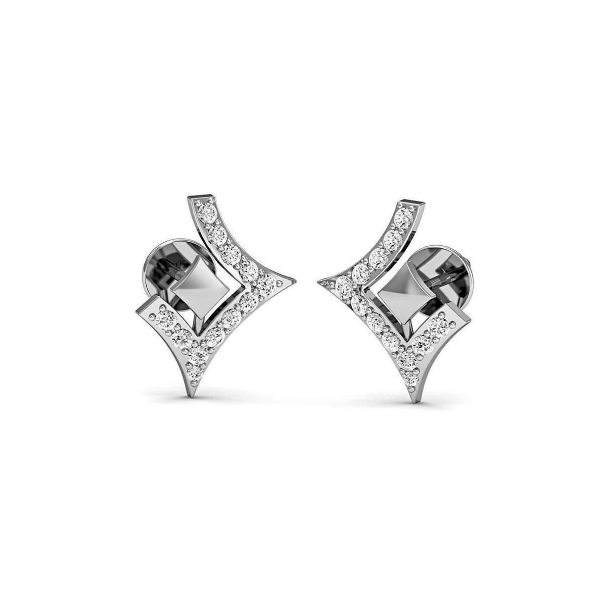 Diamoire Jewels Star Shape Premium Diamond Earrings in 18kt White Gold 0eeUt3l