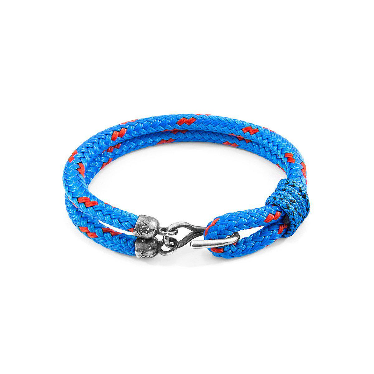 Anchor & Crew Blue Great Yarmouth Silver And Rope Bracelet - 21cm nOzQcBaLfY