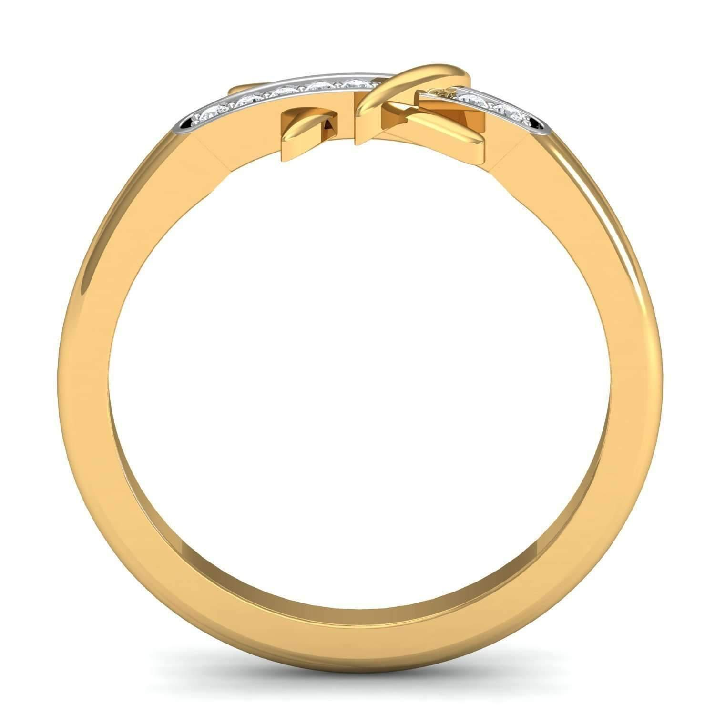 Diamoire Jewels Graceful H Shaped 18Kt Yellow Gold Diamond Ring V6xkCtOHp