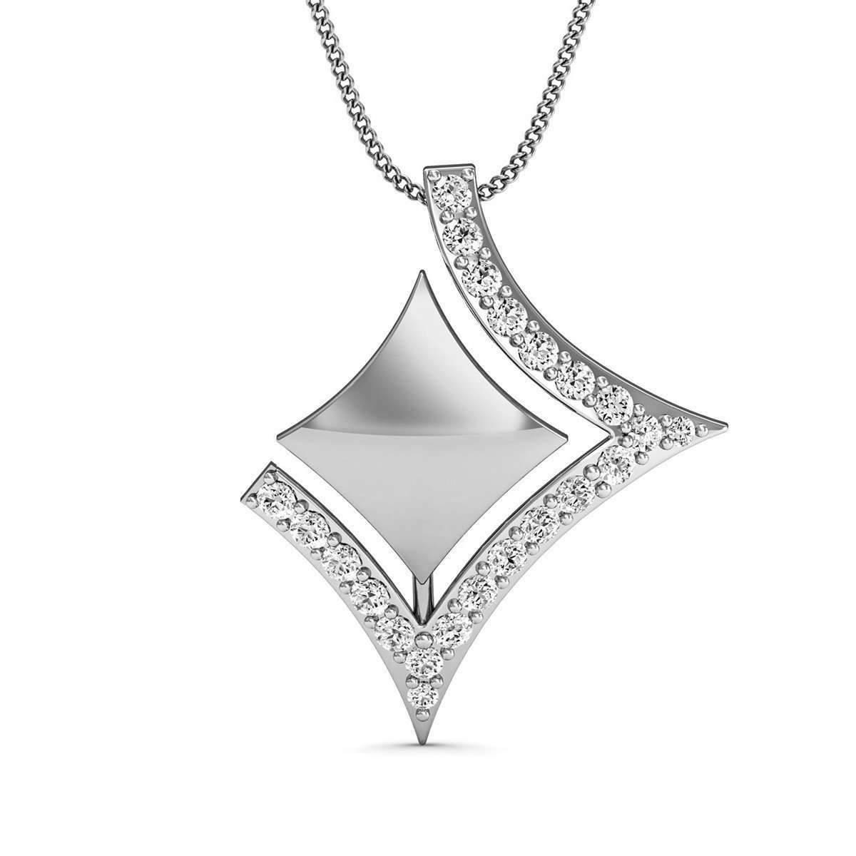 Diamoire Jewels Pave Diamond Pendant handcarved in 18kt White Gold qgUumU4Oko