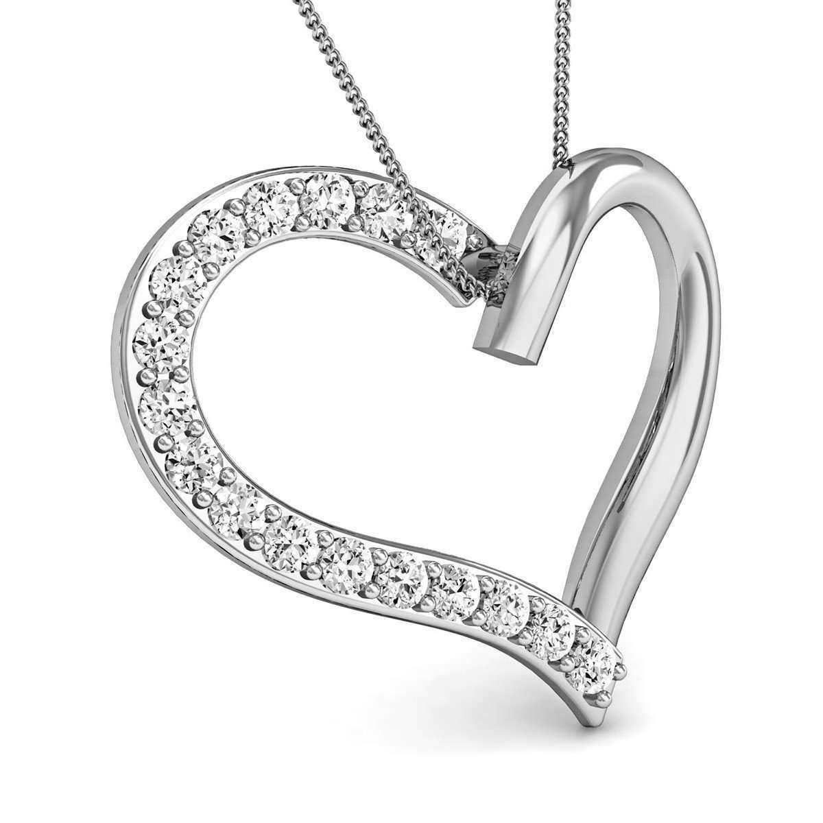 Diamoire Jewels 10kt White Gold Heart Pendant with Premium Quality Diamonds kZGdGQF