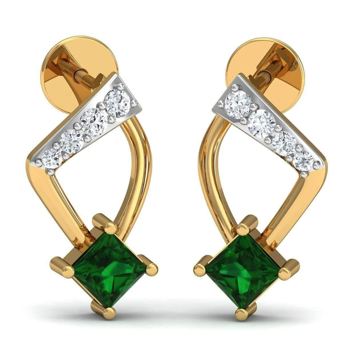 Diamoire Jewels 18kt Yellow Gold 0.09ct Pave Diamond Infinity Earrings With Emerald 0PET4r