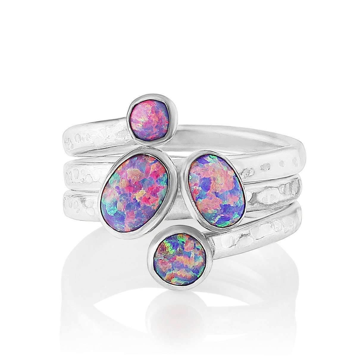 Lavan Sterling Silver & Blue Opal Adjustable Ring - UK U 1/2 - US 10 1/2 - EU 63 1/2 IV3bMQp