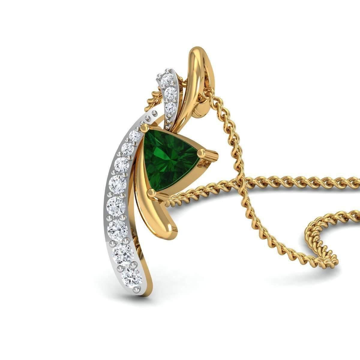Diamoire Jewels Emerald Cut Emerald Pendant with Premium Diamonds in 10kt Yellow Gold CdUouokRi8