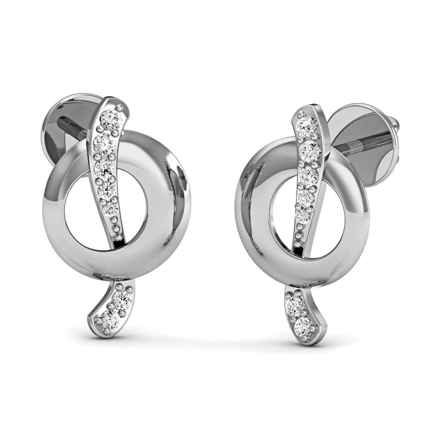 Diamoire Jewels Hand-hammered Pave Diamond and 18kt White Gold Earrings vhVC5