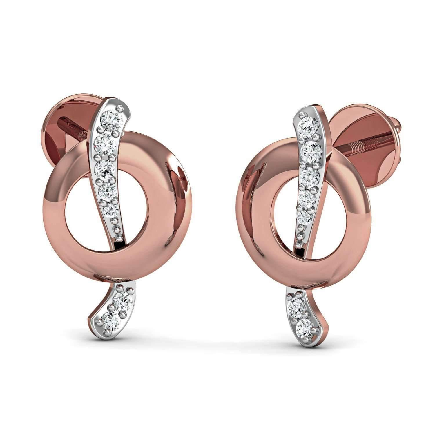 Diamoire Jewels Bezel Set Hoop Earring in 10kt Rose Gold
