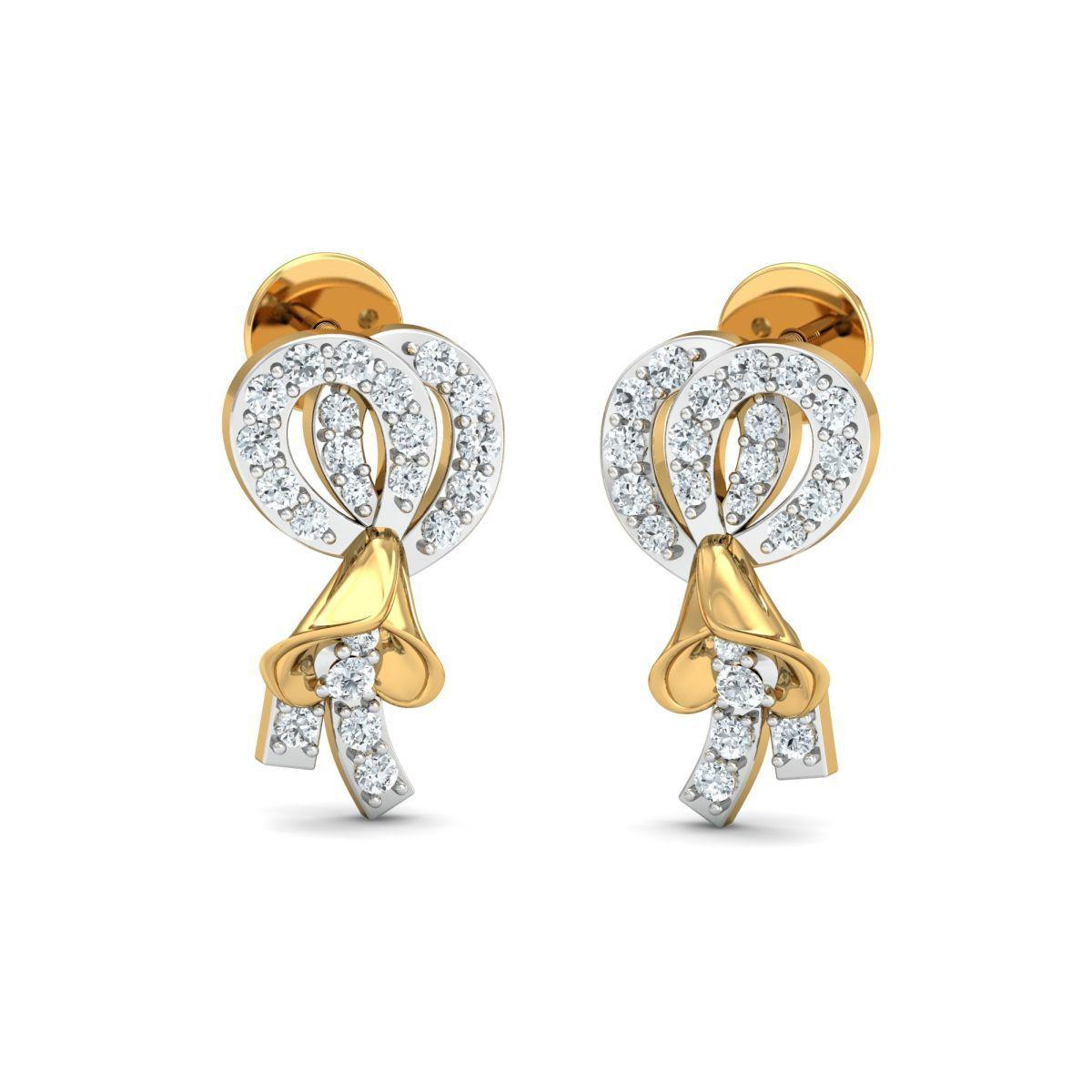 Diamoire Jewels 18kt Yellow Gold 0.07ct Pave Diamond Infinity Earrings II dAXvmtywlq