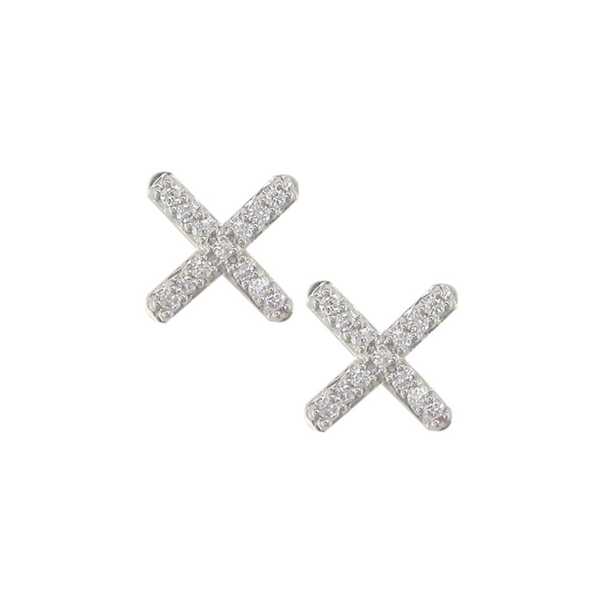 London Road Jewellery White Gold Diamond Geo Bar Stud Earrings oNWxPdmLyd