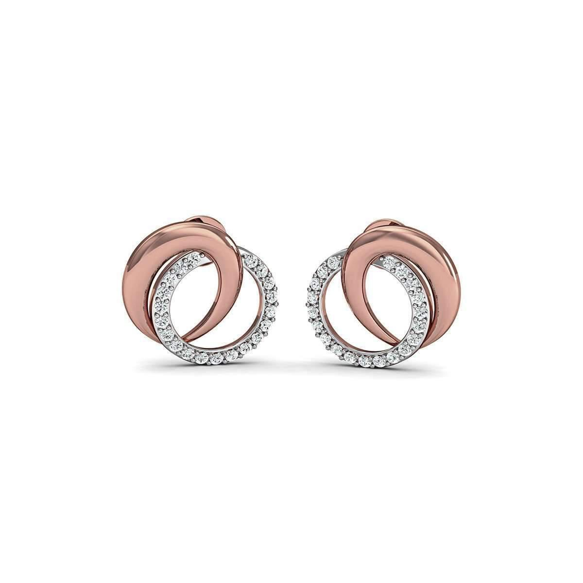 Diamoire Jewels Premium Diamond Earrings Nature Inspired in 18kt Rose Gold