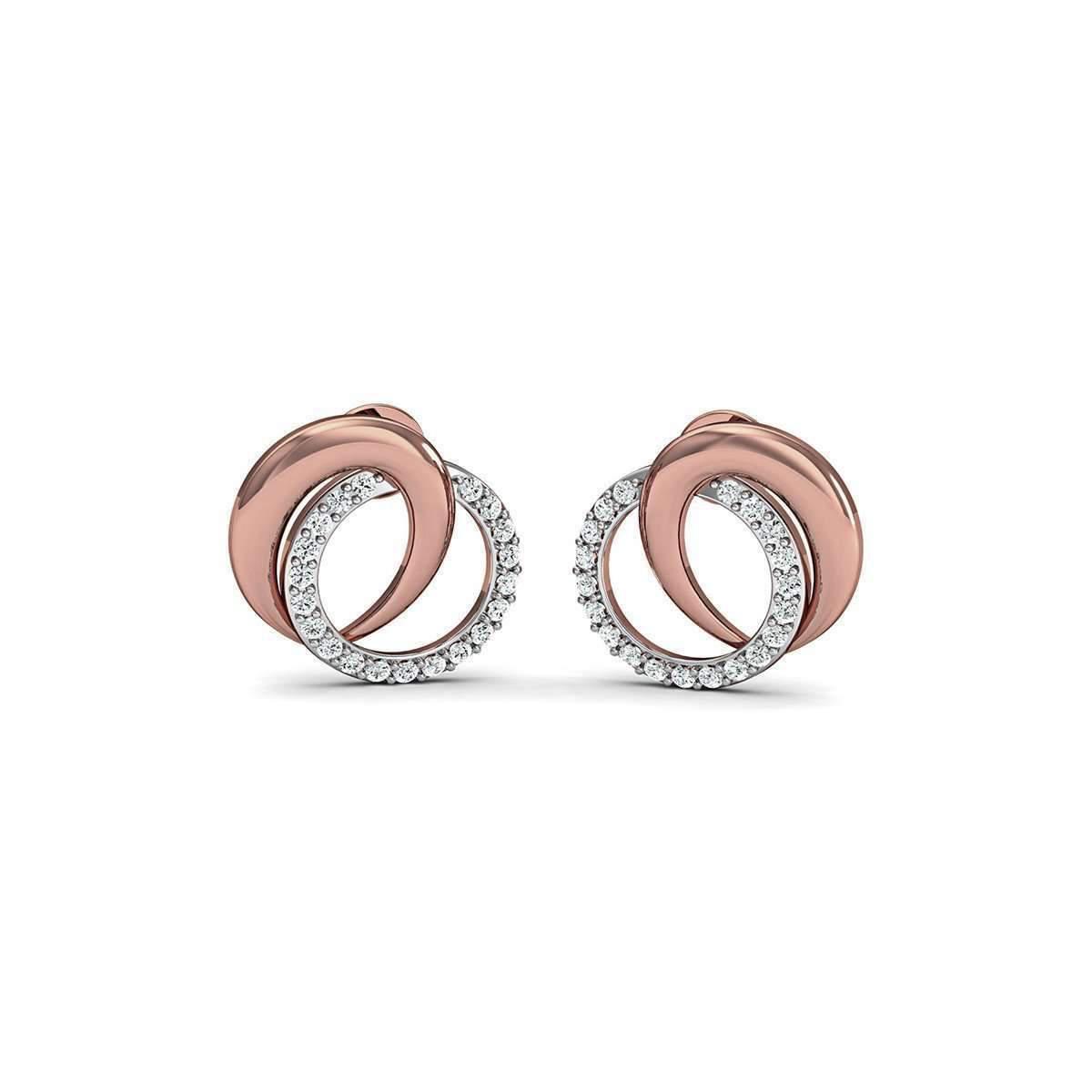 Diamoire Jewels Premium Diamond Earrings Nature Inspired in 18kt Rose Gold jDdk8QkIK