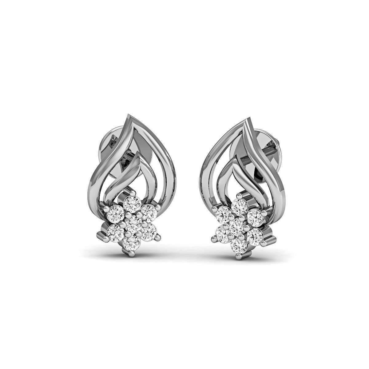 Diamoire Jewels Embellished Pave Diamond Earrings in 18kt White Gold LYjtw