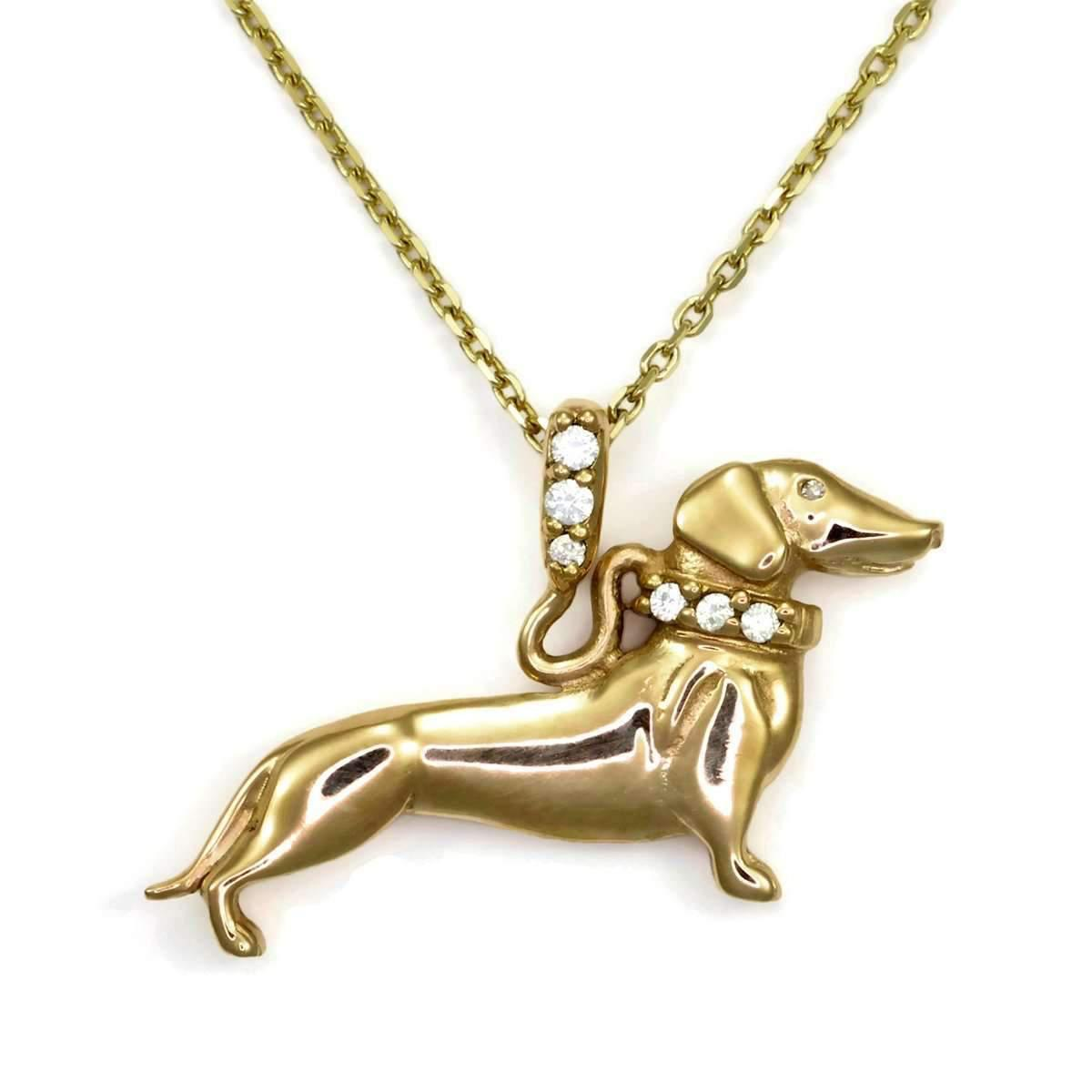 Donna Pizarro Designs 14kt Diamond Long Hair Dachshund Necklace 3nso4