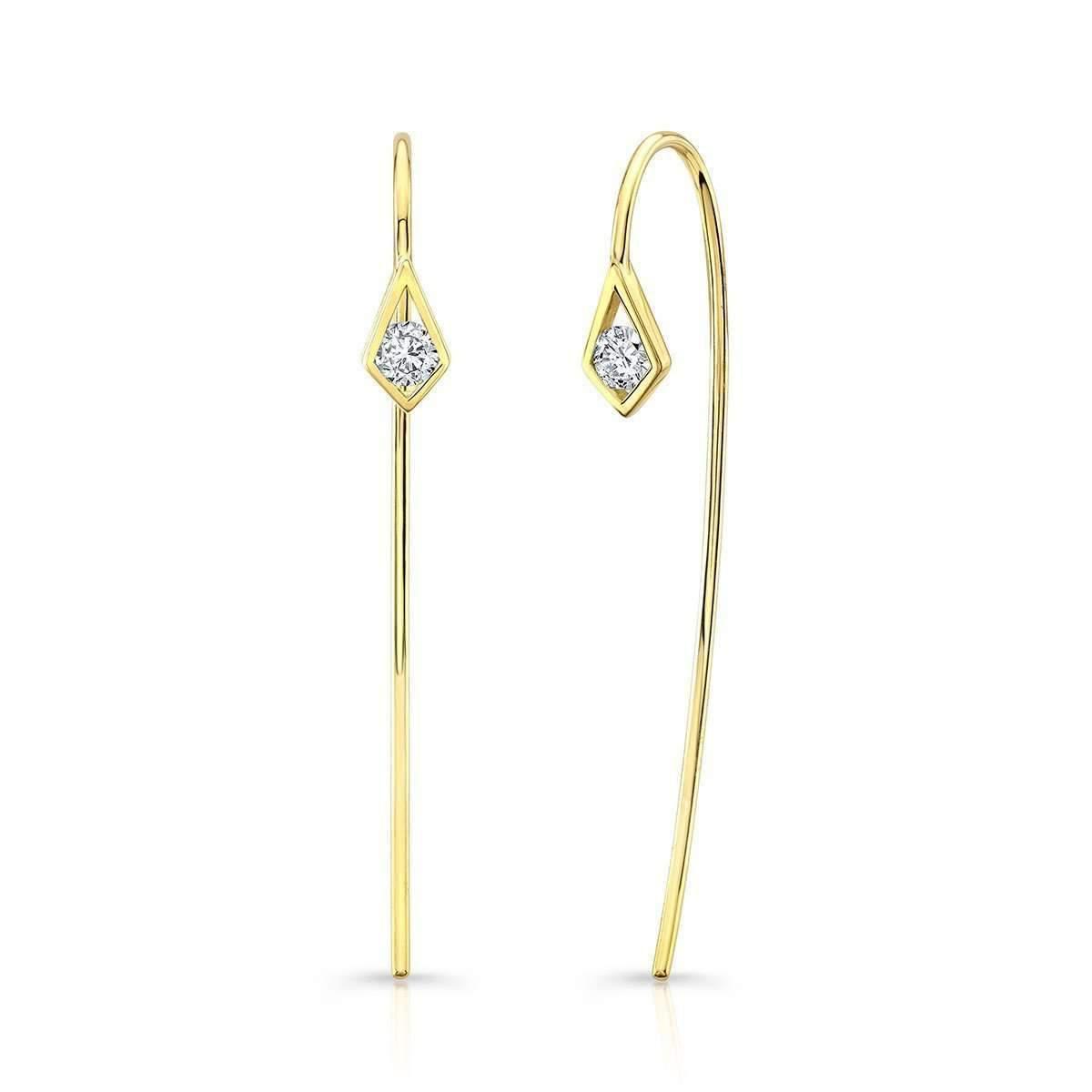 Ron Hami 14k Turquoise & Diamond Threader Earrings AZuIISvN