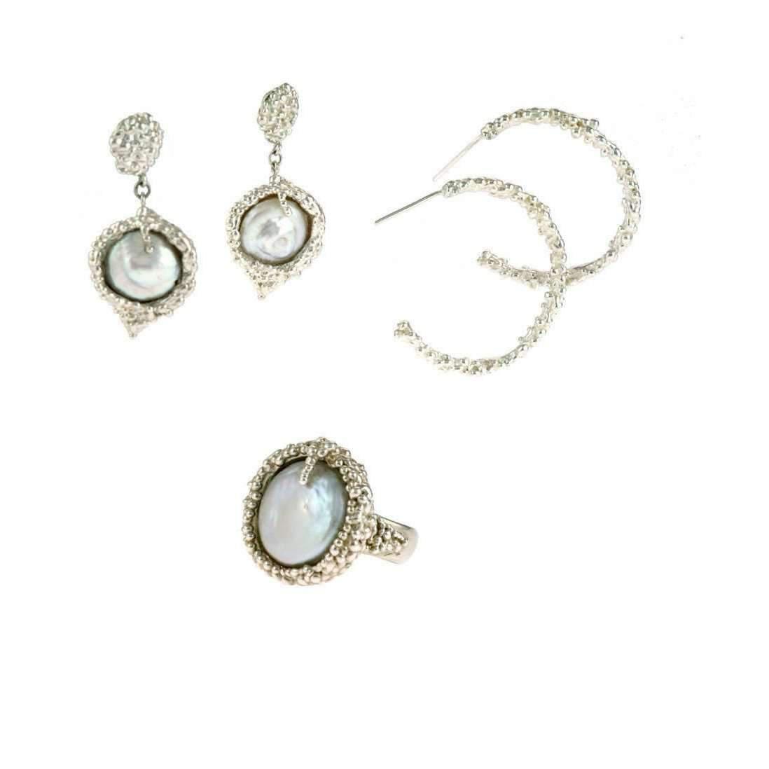 Militza Ortiz Organica Double Silver Pearl Earring fOg941