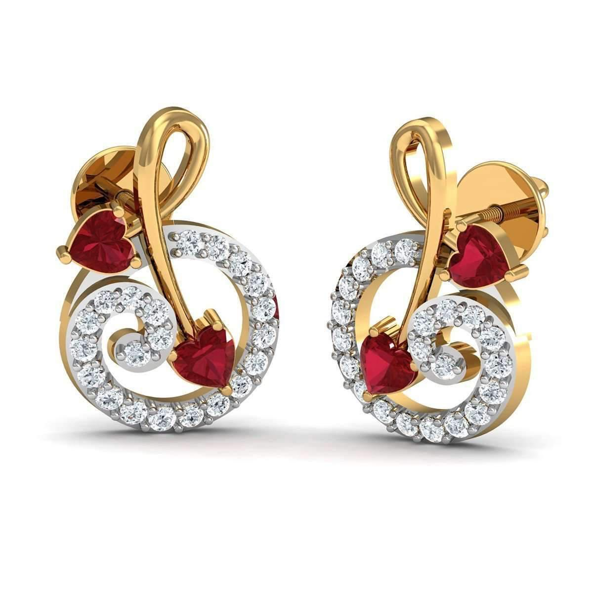 Diamoire Jewels Heart Shaped Ruby and Diamonds Pave 14kt Yellow Gold Earrings
