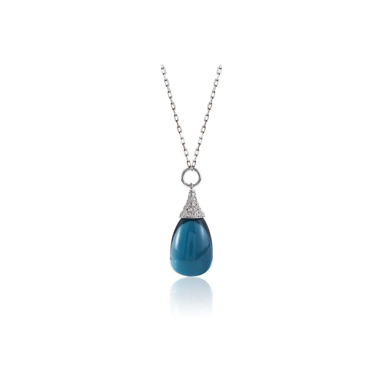 Goshwara Naughty London Blue Topaz Drop Diamond Pendant UC0wQPgWkD