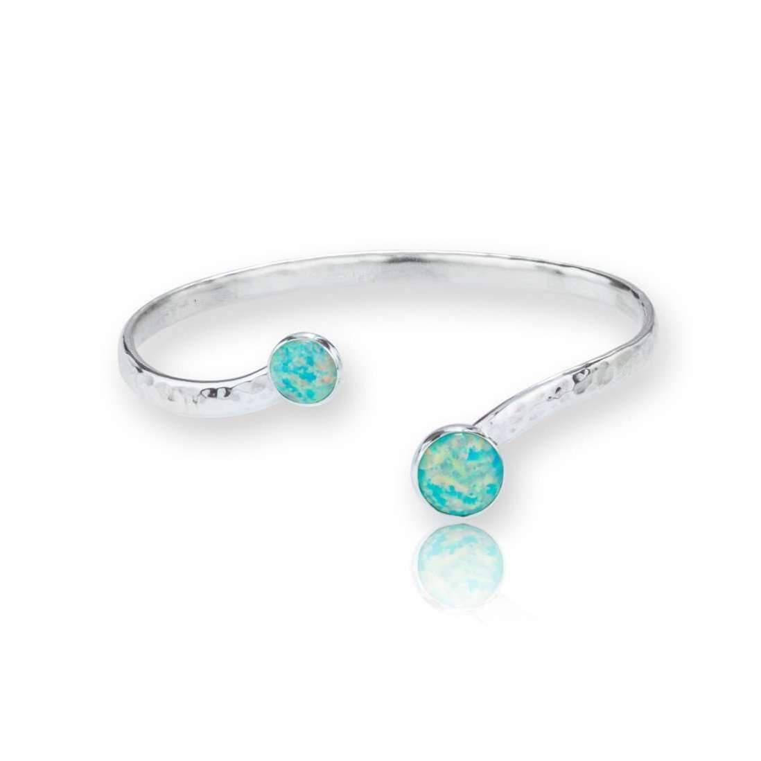 Lavan Sterling Silver Torq Bangle With Green Opals