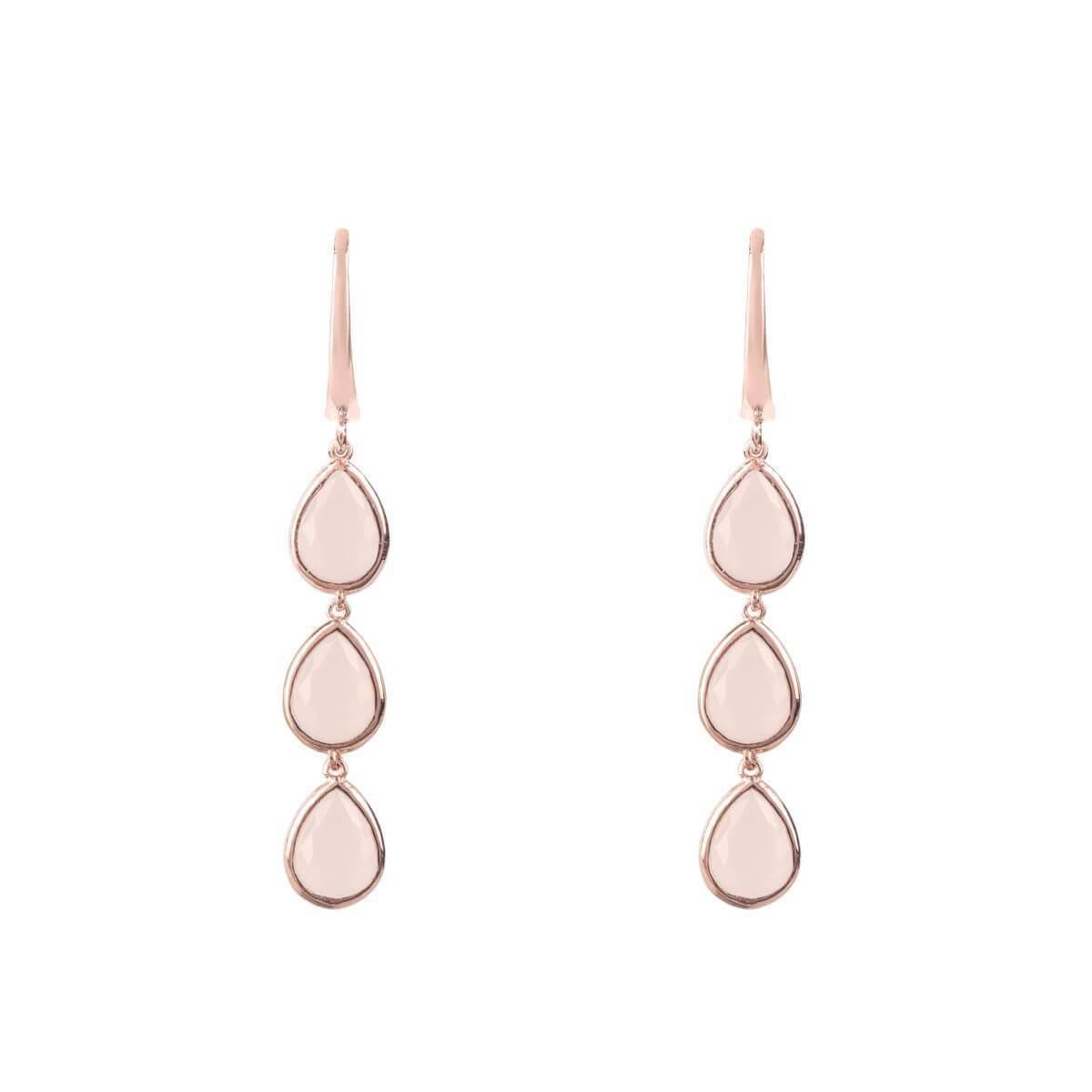 Latelita London Sorrento Triple Drop Earrings Gold Rose Quartz 3HEotJfejK