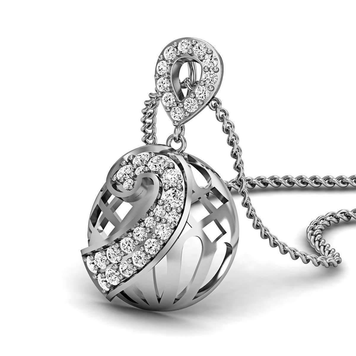 Diamoire Jewels Quality 18kt White Gold Nature Inspired Diamond Pendant in a Pave Setting WdZj2se3u