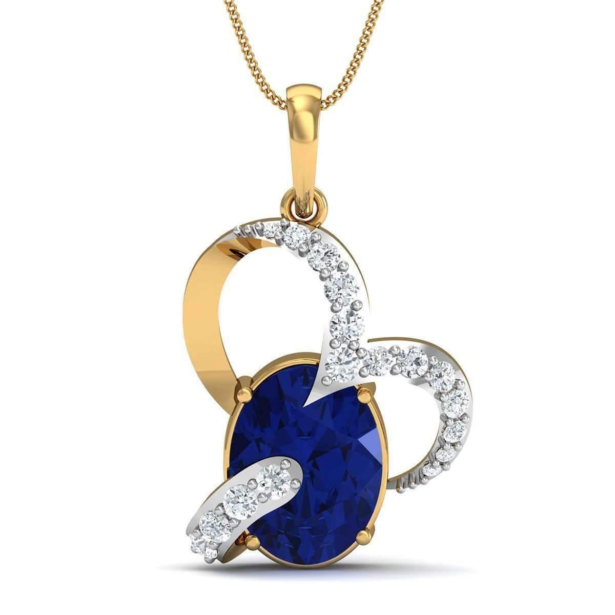 Diamoire Jewels Blue Pear Cut Sapphire and Diamond Pendant in 14kt Yellow Gold bXRNa6KtSF