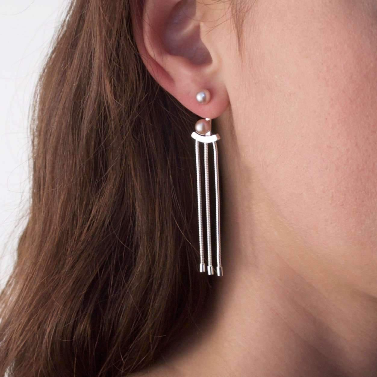 Cara Tonkin Oxidised Silver Orbit Tassel Front and Back Earrings BH1zqtwl