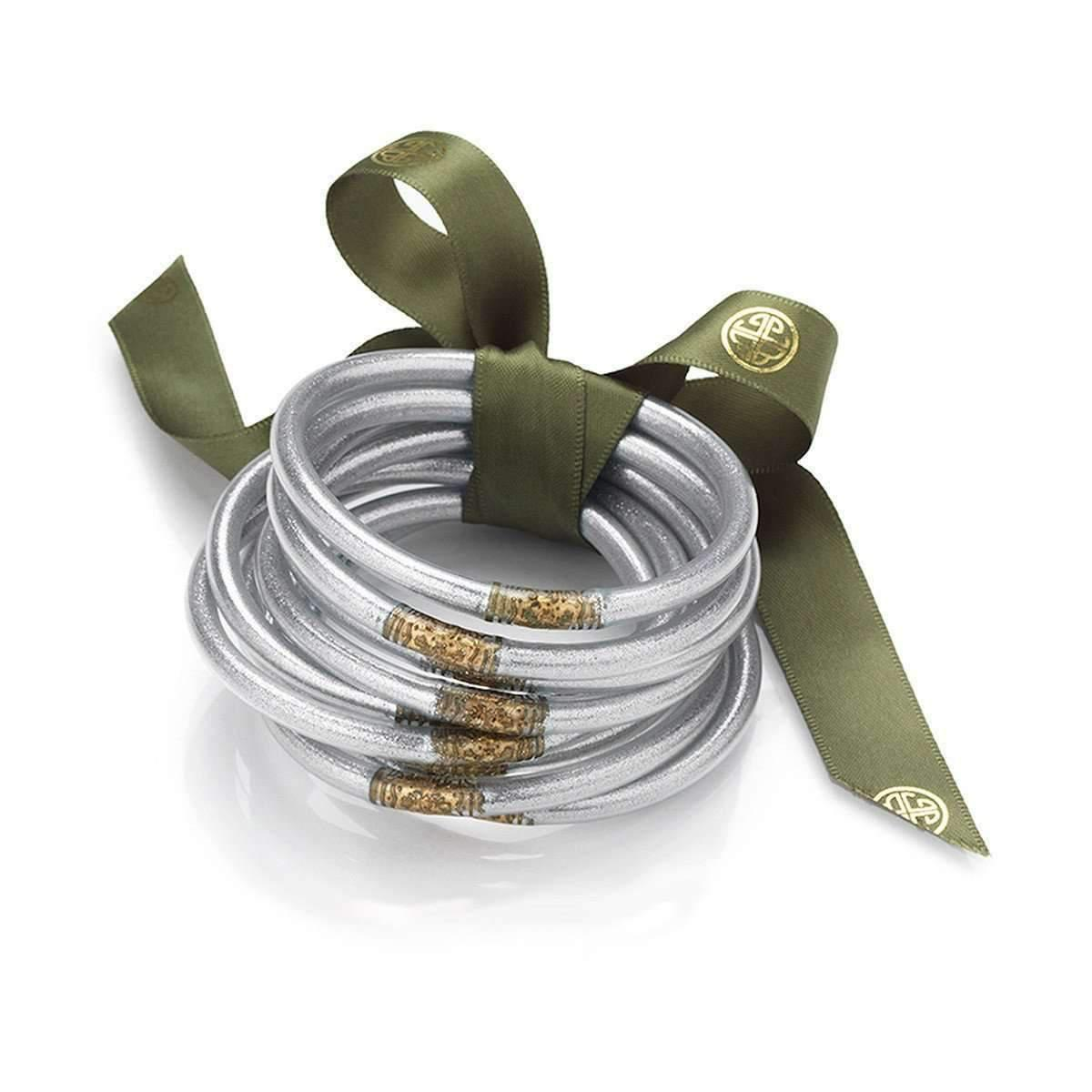 BuDhaGirl All Weather Serenity Silver Bangles - Large - 23cm DIdPJ