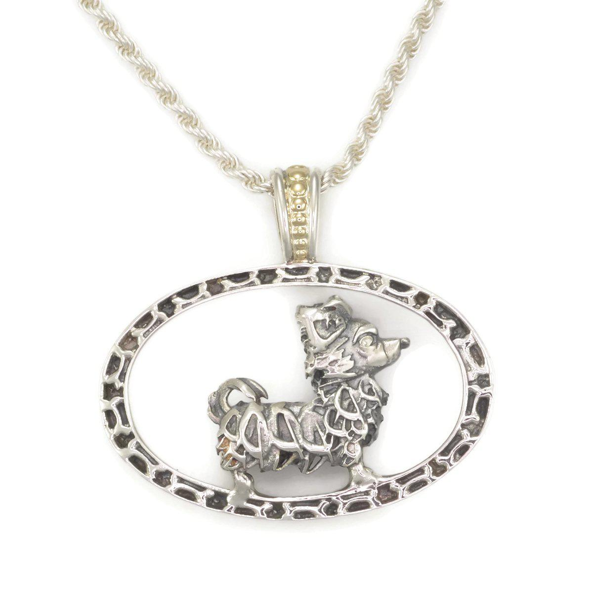 Donna Pizarro Designs Sterling Silver Chihuahua And Sapphire Necklace hs28fd5A0Y
