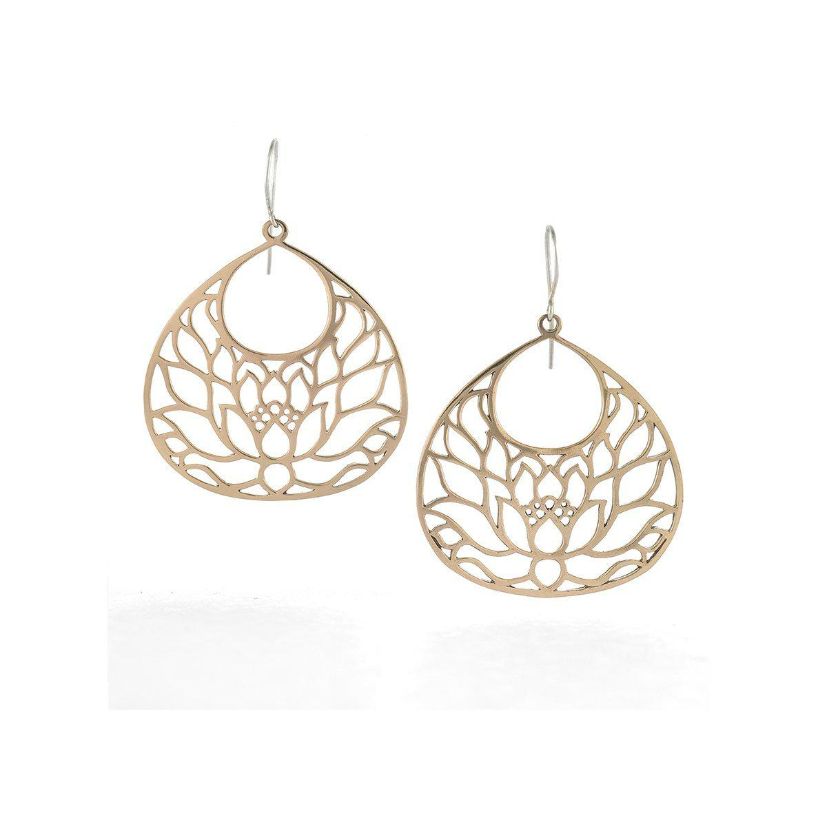 House of Alaia Large Lotus Flower Earrings In Bronze vLMFvlo3x