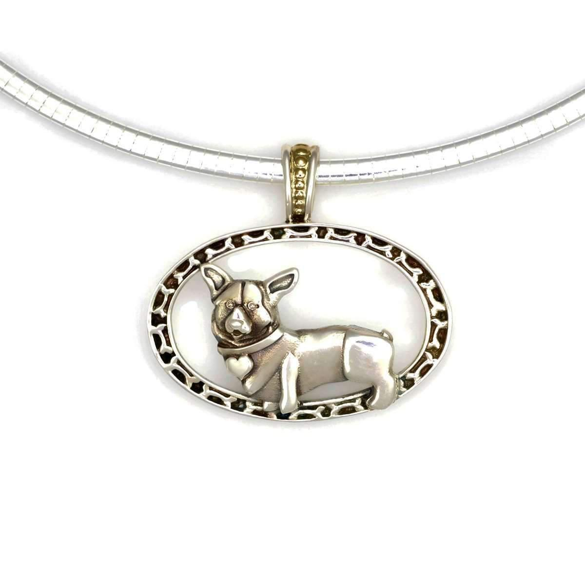 Donna Pizarro Designs Sterling Silver Welsh Corgi Necklace With 14kt Accent F4ot8NF