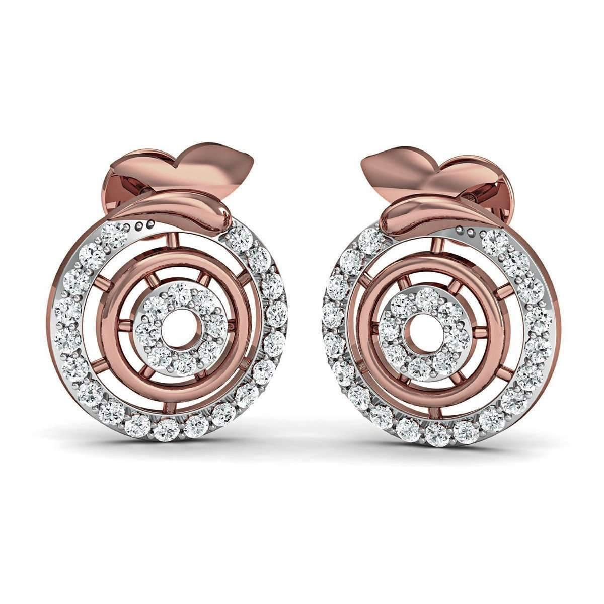 Diamoire Jewels Hand-carved 10kt Rose Gold Pave Earrings with Hand-set Premium Quality Diamonds j4vyg8Xt